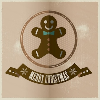 Christmas card with happy gingerbread man
