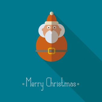 Christmas card with santa claus in flat design