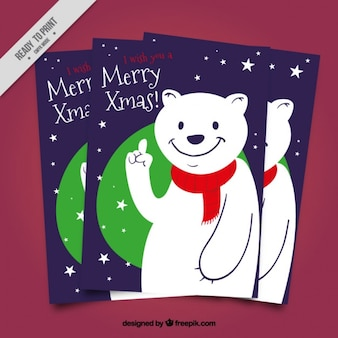 Christmas cards with polar bear