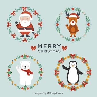 Christmas characters and christmas wreaths