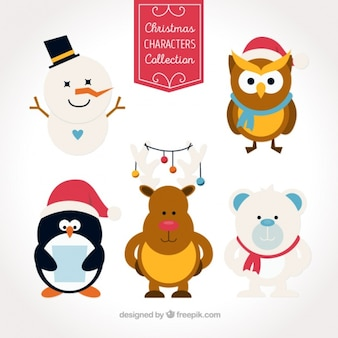 Christmas characters in flat design