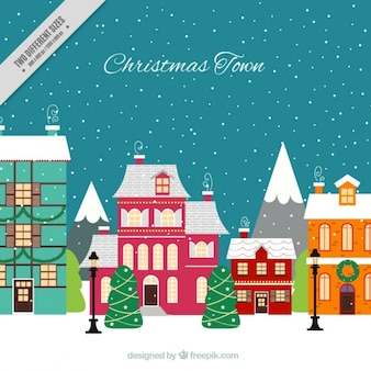Christmas city background with houses in flat design