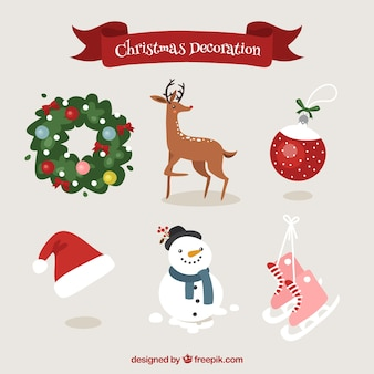 Christmas decorative elements with deer and snowman