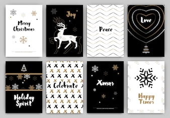 Christmas Design Set - Trendy Holiday Themed Collection ideal for gift tags or print in black white and gold