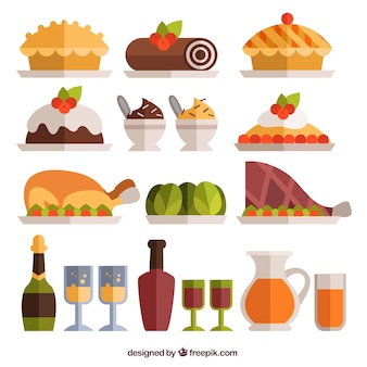Christmas dinner food in flat design