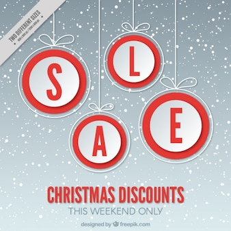 Christmas discount background with snowflakes and balls