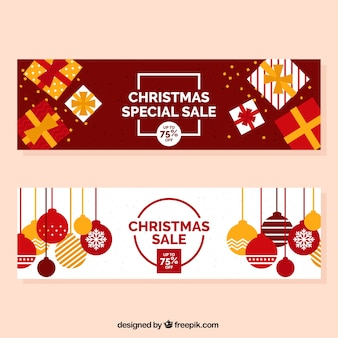 Christmas discount banners with balls and gifts in flat design