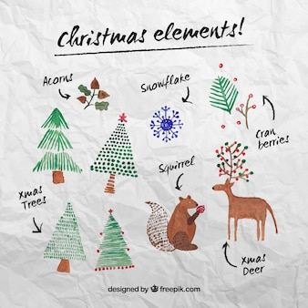 Christmas elements in watercolor style