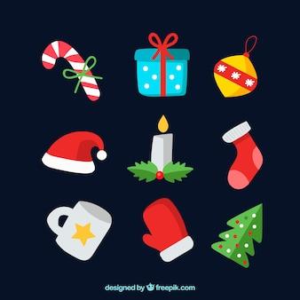カラフルなスタイルのクリスマスの要素