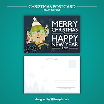 Christmas elf postcard
