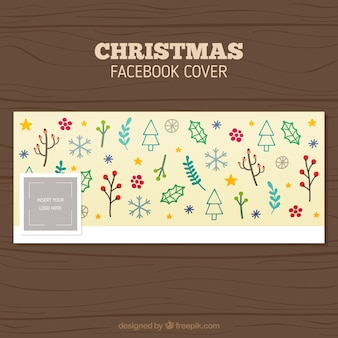 Christmas facebook cover of drawings
