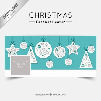 Christmas facebook cover with baubles