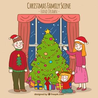 Christmas family scene with christmas tree