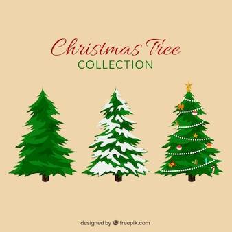 Christmas fir trees set