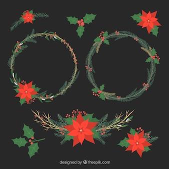 フラットデザインのクリスマスの花