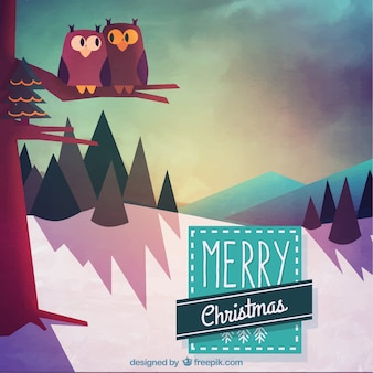 Christmas forest landscape background