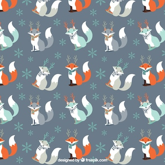 Christmas fox pattern