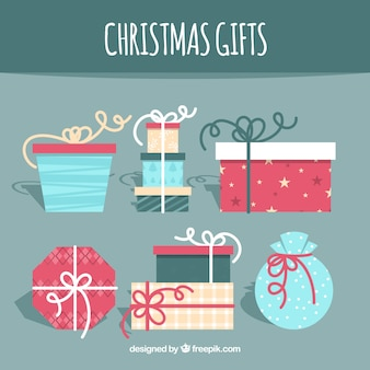Christmas gift set in flat design