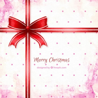 Christmas gift with a red ribbon background