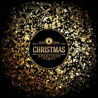 Christmas Greeting Card - Gold Glitter on dark background - Elegant Classic Typography