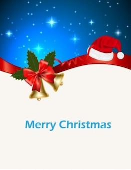 Christmas greeting card on blue sky