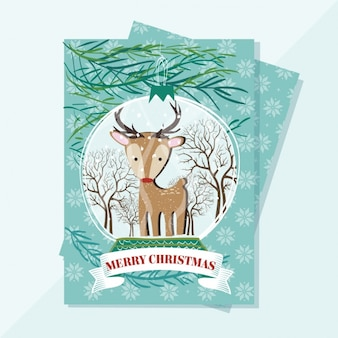 Christmas greeting card with a cute deer and snowflakes