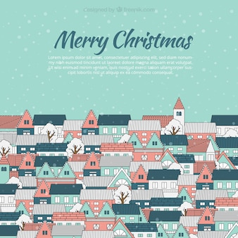 Christmas Greeting Template with houses