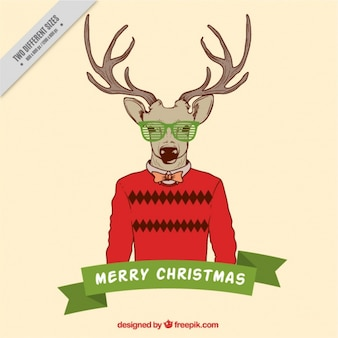 Christmas greeting with reindeer in hipster style