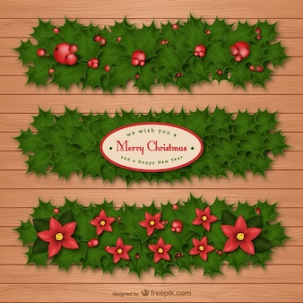 Christmas holly banners