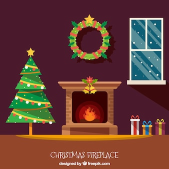 Christmas house interior background with fireplace