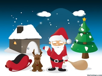 Christmas illustration santa claus reindeer tree house home snow winter red white blue bright children star free vector