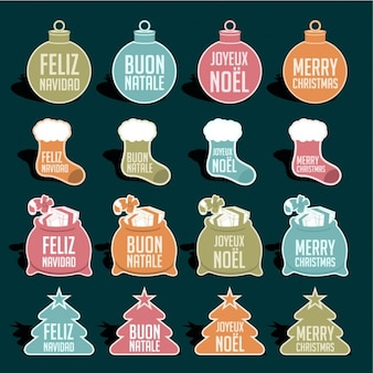 Christmas labels in differents languages