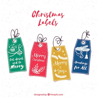 Christmas labels with colorful style