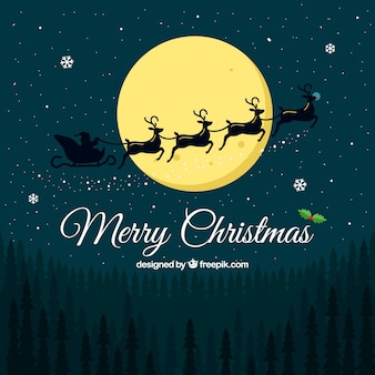 Christmas landscape background with santa claus