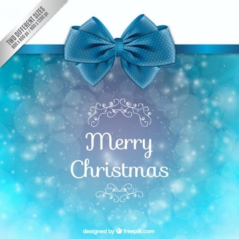 Christmas Light Blue Background with Bow