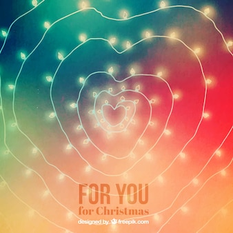 Christmas lights making a heart shape background