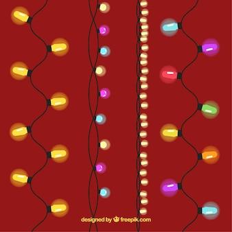 Christmas lights on a burgundy background