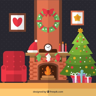 Christmas living room in flat design