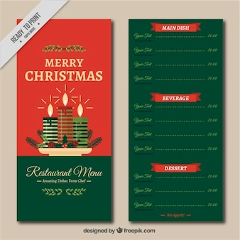 Christmas menu template with candles