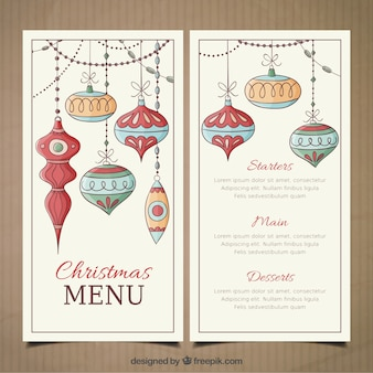 Christmas menu template with hand drawn baubles
