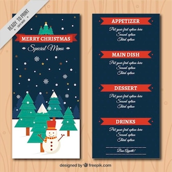 Christmas menu template with winter landscape