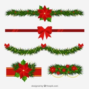 花のスタイルとクリスマスの装飾品