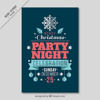 Christmas party brochure in flat design