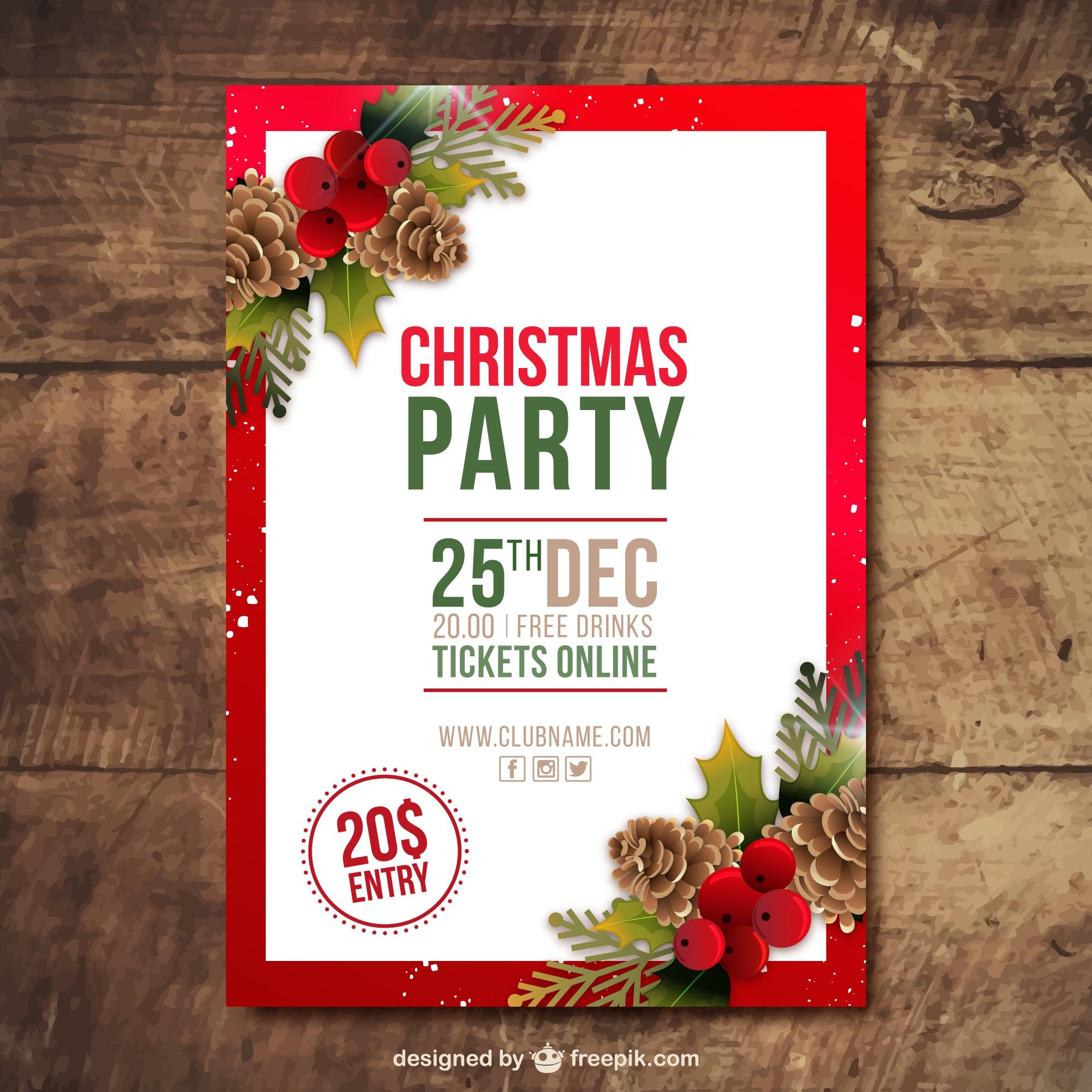 Christmas party brochure with pine cones and mistletoe in realistic style