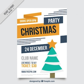Christmas party brochure with tree