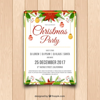 Christmas party poster with balls and easter flowers