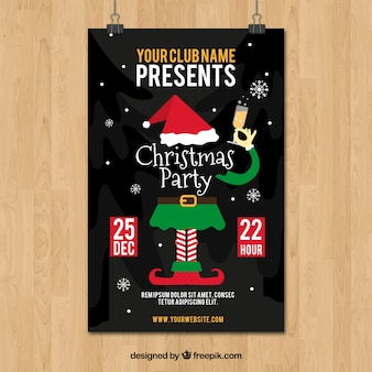 Christmas party poster with elf and champagne