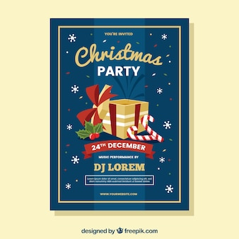 Christmas party poster with flat design