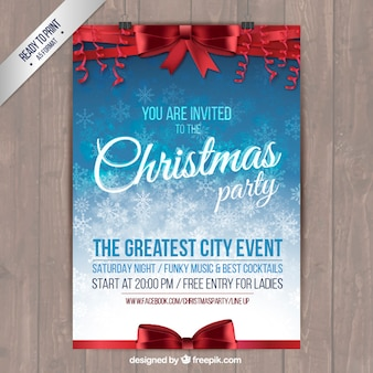 Christmas party poster with red ribbons