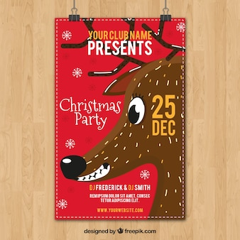 Christmas party poster with reindeer smiling